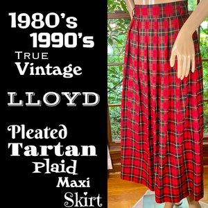 🆕VTG▪️LLOYD▪️Red Pleated Tartan Plaid Maxi Skirt